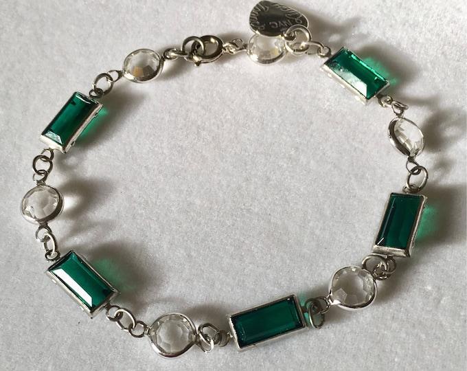Crystal Bracelet, Vintage Emerald Green Swarovski Bracelet by Lucy Isaacs