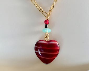 Heart Pendant, Vintage Ruby Red Heart Pendant Necklace, Red Heart Necklace, Red Satin Heart Necklace, Lucy Isaacs