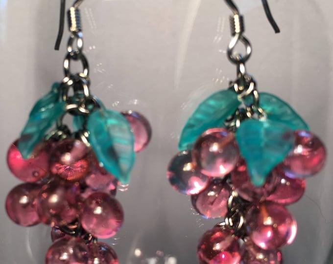 Grape Earrings,Wine Lover Gift,Grape Cluster Earrings, Antique Glass Earrings, Fruit Earrings, Winery Gift Vineyard Gift Lucy