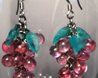 Wine Lover Gift Grape Cluster Earrings Antique Glass Earrings Fruit Earrings Grape Earrings Winery Gift Vineyard Gift Lucy Isaacs