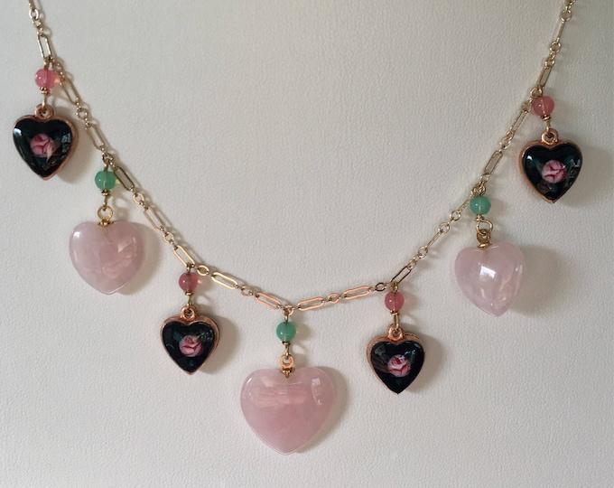 Vintage Rose Quartz Necklace, Black Enamel Heart Necklace, Love Necklace, Lucy Isaacs