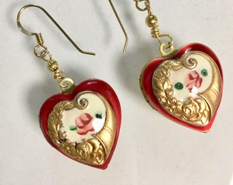 Red Heart Earrings, Locket Earrings,  Vintage Enamel Heart Earrings, Red Heart Locket Earrings, Valentine's Day, Lucy Isaacs