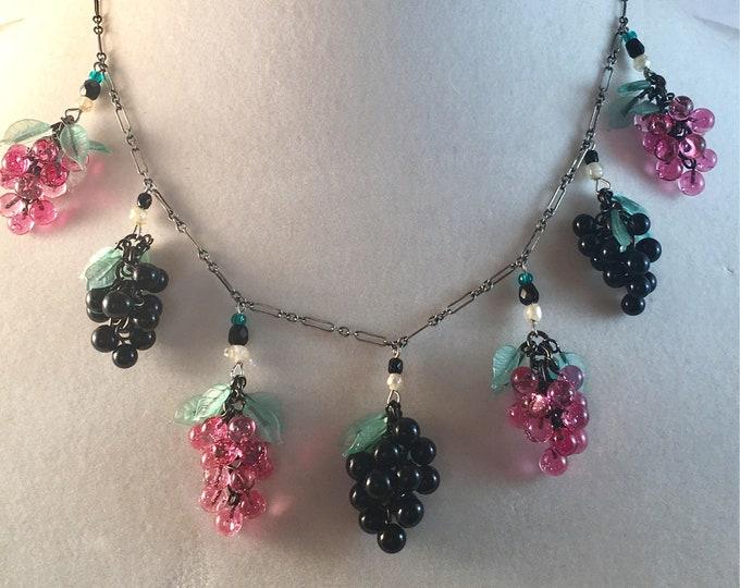 Wine Lover Gift, Vintage Glass Grape Cluster Necklace Grape Necklace, Vineyard Gift