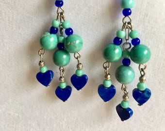 Lucy Isaacs, Gemstone Earrings, Lapis Lazuli Heart Earrings, Turquoise Heart Earrings, Lapis Heart Earrings