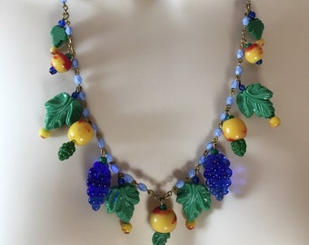 Vintage Czech Glass Fruit Necklace Fruit Salad Necklace by Lucy Isaacs