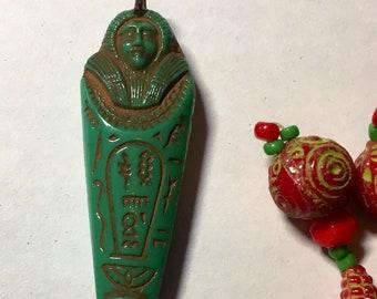 Max Neiger Egyptian Revival Mummy Pendant Green 1920-30 Czech Glass