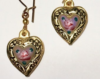 Vintage Enamel Heart Earrings, Puffy Heart Earrings, Lavender and Gold Heart Earrings by Lucy Isaacs Mothers Day