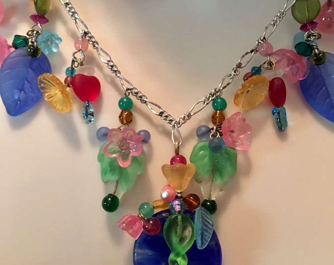 Antique Czech Glass Blue Lily Pad Necklace by Lucy Isaacs