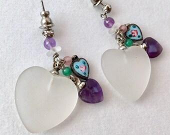 Glass Heart Earrings, Vintage Frosted Heart Earrings, Enamel Heart Earrings by Lucy Isaacs