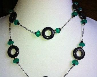 Antique Glass and Onyx Lifesaver Necklace, Vintage Necklace, Art Deco Necklace,