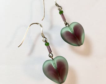 Heart Earrings, Vintage Purple and Green Glass Heart Earrings, Amethyst and Emerald Glass Heart Earrings, Glass Heart Earrings, Lucy Isaacs