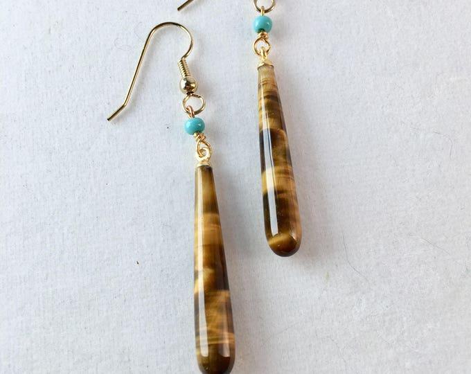 Vintage Tiger Eye Earrings, Tigers Eye Drop Earrings, Tiger Eye Earrings, Lucy Isaacs, Gemstone Earrings Mothers Day