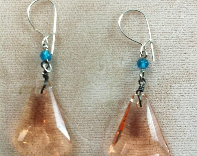 Vintage Czech Glass Art Deco Earrings, Deco Fan Earrings, Pink Earrings,  Lucy Isaacs