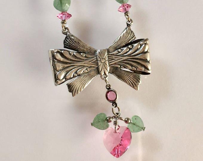 Sterling Silver Art Nouveau Bow Necklace
