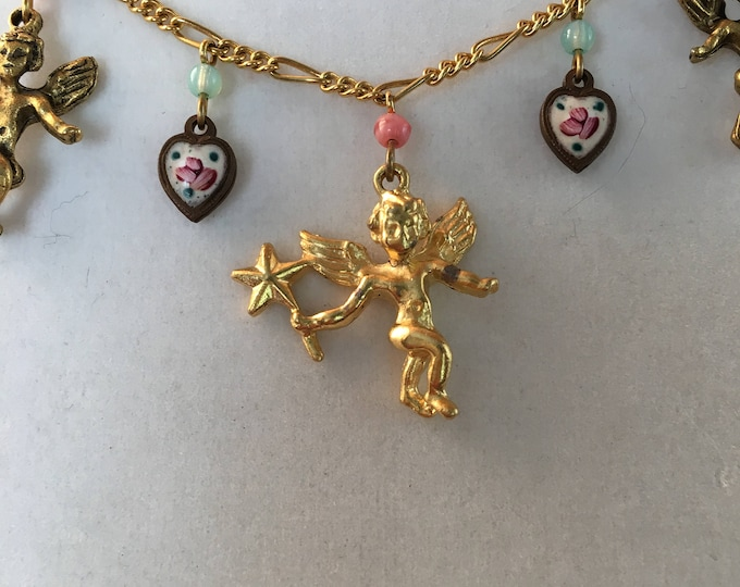Cupid Necklace, Vintage Enamel Heart and Cupid Necklace by Lucy Isaacs, Love Necklace, Angel Necklace