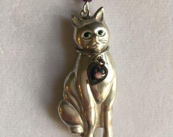 Silver Cat Necklace, Vintage 3D Sterling Cat Pendant, Lucy Isaacs, Sterling Cat Necklace, Cat Necklace, Vintage Cat Necklace, Sterling Cat