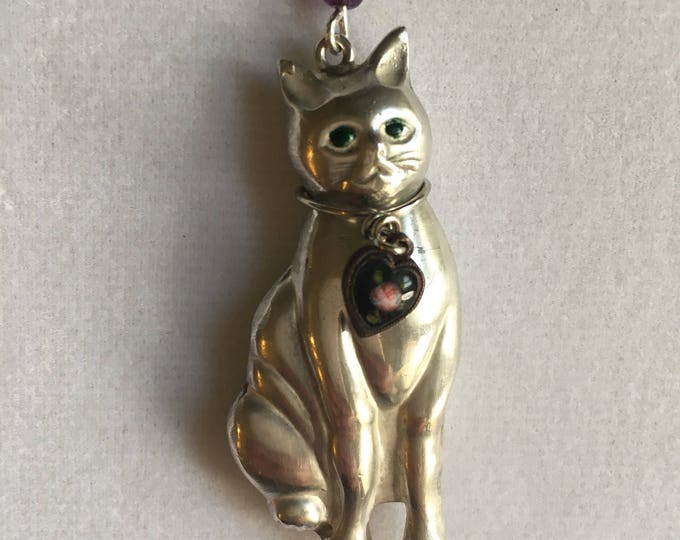 Silver Cat Necklace, Vintage 3D Sterling Cat Pendant, Lucy Isaacs, Sterling Cat Necklace, Cat Necklace, Vintage Cat Necklace, Sterling Cat