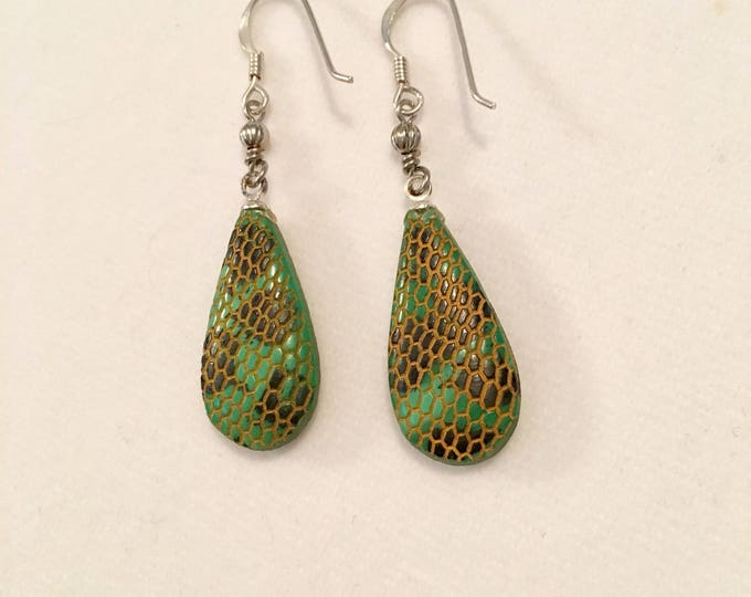 CLOSEOUT Czech Glass Earrings, Green Glass Earrings, Czech Bead Snake Earrings, Snake Skin Earrings by Lucy Isaacs