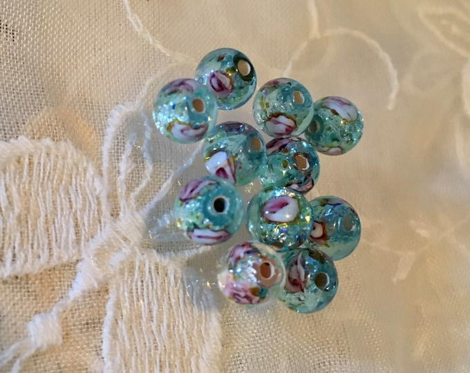 Vintage Aqua Blue Silver Foil Beads, Blue Beads  6mm, lot of (20)