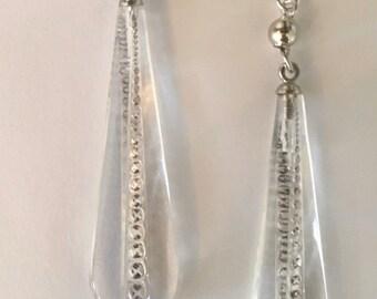 Vintage Art Deco Earrings, Crystal Earrings, Antique Earrings , Glass and Sterling Earrings, Lucy Isaacs
