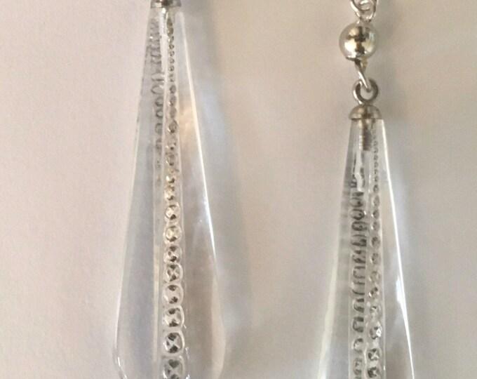 Vintage Art Deco Earrings, Solid Sterling Ear Wires, Crystal Earrings, Antique Earrings , Glass and Sterling Earrings, Lucy Isaacs
