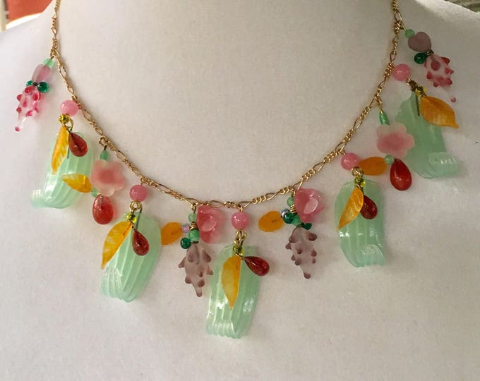 Vintage Czech Glass Necklace, Vintage Glass Flower Necklace, Lampwork Necklace, Flower Necklace by Lucy Isaacs