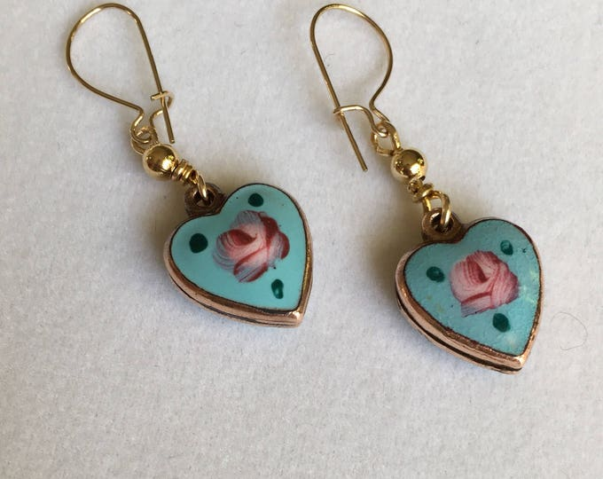 Enamel Heart Earrings, Vintage Enamel Heart Earrings, Floral Earrings , Green Earrings, White Earrings, Purple Earrings choice of color!
