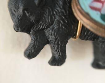 Vintage Bear Necklace, Vintage Black Czech Glass Bear Necklace, Lucy Isaacs, Black Bear Necklace, Handmade Jewelry