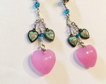 Pink Heart Earrings, Glass and Enamel Heart Earrings, Raspberry and Mint Heart Earrings by Lucy Isaacs