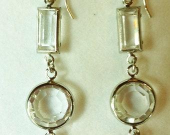Vintage Swarovski Clear Crystal Earrings, Amethyst Crystal Earrings, Faceted Crystal Earrings, Austrian Crystal Earrings