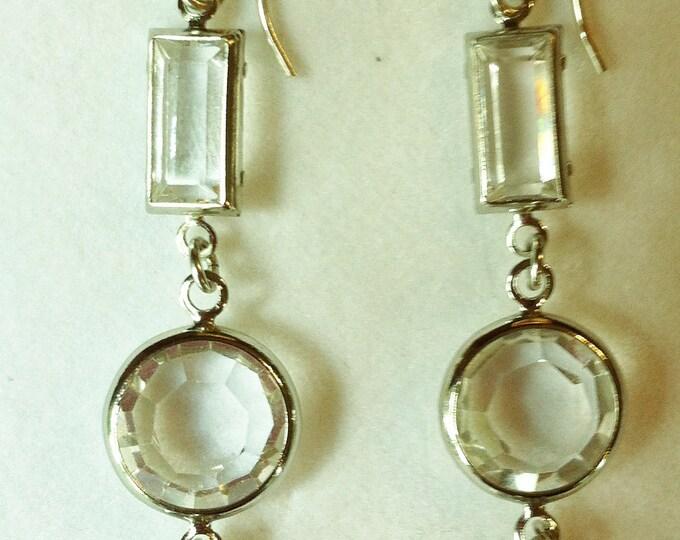 Vintage Swarovski Clear Crystal Earrings Faceted Crystal Earrings Austrian Crystal Earrings