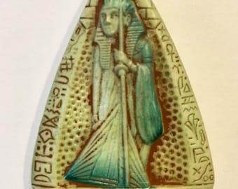 SALE Max Neiger, Egyptian Revival, Tutankhamen Pendant,  Green Pendant, Art Deco Pendant, Neiger Brothers