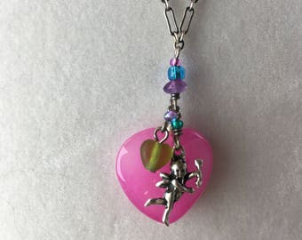 Cupid Necklace Vintage Sterling Cupid Necklace Pink Heart Necklace, Vintage Heart Necklace, Sterling Cupid Necklace