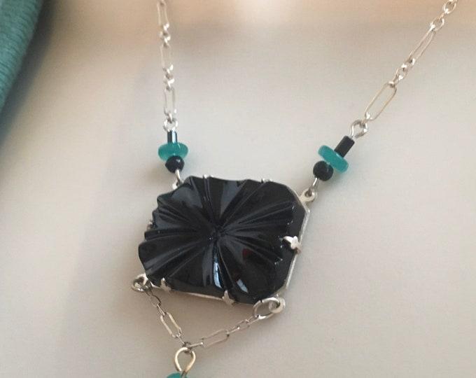 Vintage Deco Necklace, Art Deco Necklace, Antique Necklace, Vintage Czech Glass Necklace, Black Czech Glass Necklace, Czech Cabochon