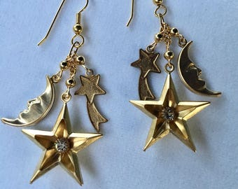 Vintage Gold Star Earrings, Star Earrings, Moon Phase Earrings, Moon Face Earrings, Comet Earrings, Celestial Earrings Lucy Isaacs