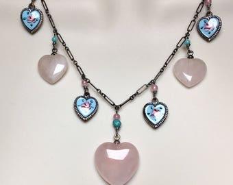 Quartz Necklace, Heart Necklace, Rose Quartz Necklace, Enamel Necklace, Sterling Necklace Lucy Isaacs