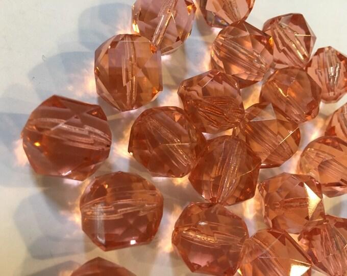 3- 15 mm Vintage Czech Glass Beads, Art Deco Czech Glass Beads, Rosaline Glass, 15mm Beads, Pink Beads