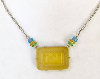Antique Necklace Intaglio Pendant Ship & Windmill Lemon Yellow Necklace Lucy Isaacs Sailing Necklace Nautical Necklace, Choker, Lucy Isaacs