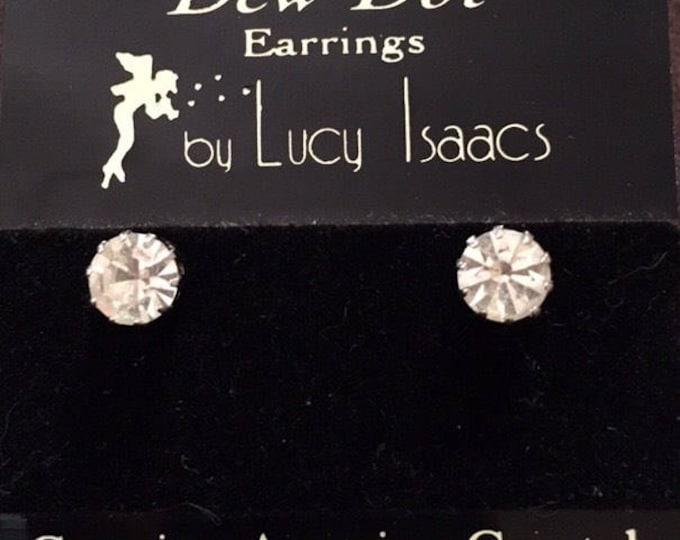 Austrian Crystal Stud Earrings, Vintage Austrian Crystal 6mm Stud Earrings by Lucy Isaacs