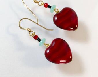 Vintage Red Heart Earrings, Vintage Ruby Red Heart Earrings, Red Heart Earrings, Red Satin Glass Heart Earrings, Lucy Isaacs