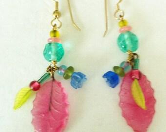 Vintage Czech Glass, Glass Flower and Leaf Earrings Earrings Blue Glass Flower Earrings