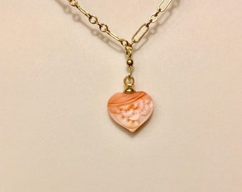 Coral Jewelry, Angel Skin Coral Necklace, Coral Necklce, Carved Coral Necklace, Heart Necklace, Carved Coral Heart Necklace