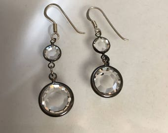 Vintage Sterling and Clear Swarovski Double Crystal Earrings Double Dangle Crystal Earrings Faceted Crystal Austrian Crystal Lucy Isaacs