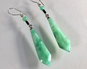 Vintage Czech Glass Earrings,Pressed Glass Green Earrings, Green Satin Glass Earrings, Green Faceted Glass Earrings