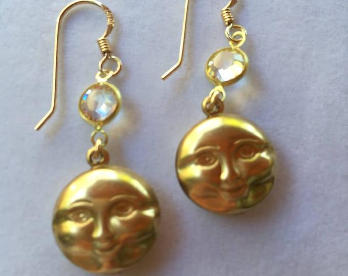 Moon Phase Earrings, Celestial Earrings, Moon Face Earrings, Gold Moon, Full Moon Face Earrings, Lucy Isaacs