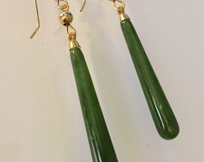 Genuine Jade Earrings, Long Jade Earrings, Elegant Jade and Gold Smooth Drop Earrings, Jade and Sterling Silver Earrings