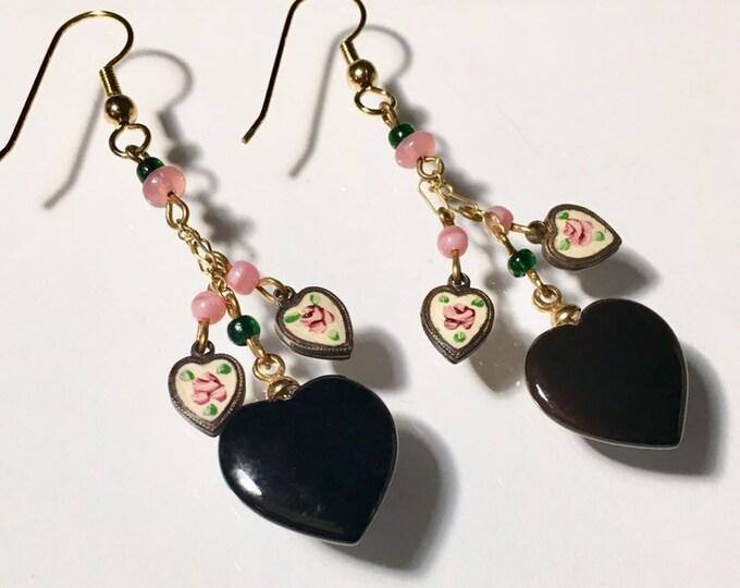 Onyx Earrings, Black Earrings, Vintage Heart Earrings, Vintage EnamelHeart Earrings, Vintage Onyx and Enamel Heart Earrings, Lucy Isaacs
