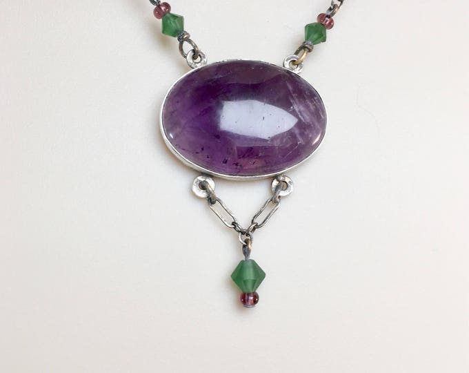Natural Amethyst Oval Pendant Necklace,