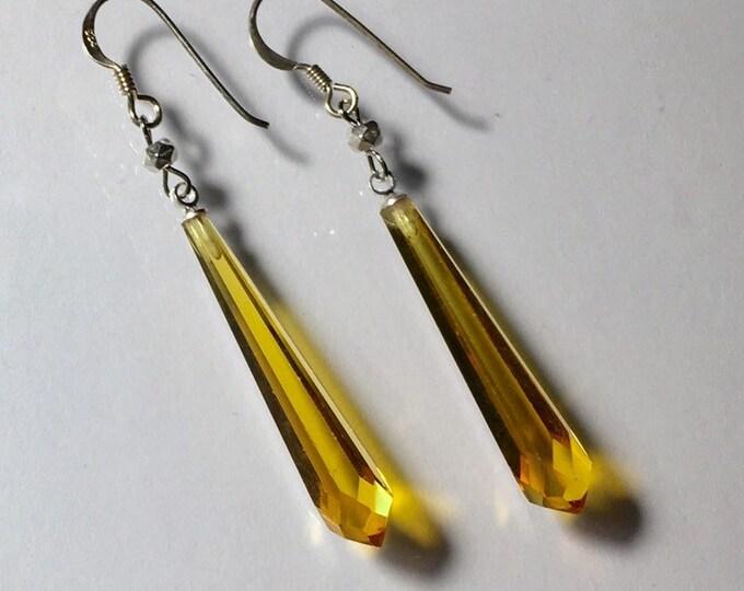 Vintage Czech Glass Earrings Amber Earrings Yellow Earrings Faceted Glass Drop Earrings, Lucy Isaacs