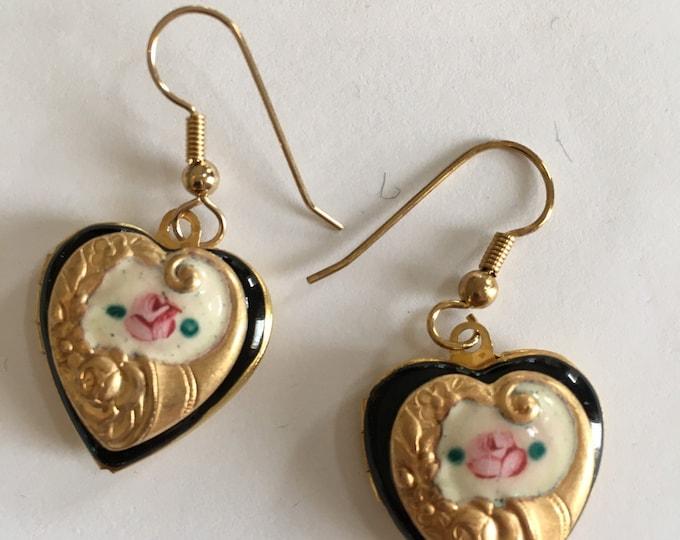 Heart Locket Earrings, Mothers Day Gift, Lavender Enamel Heart Locket Earrings by Lucy Isaacs